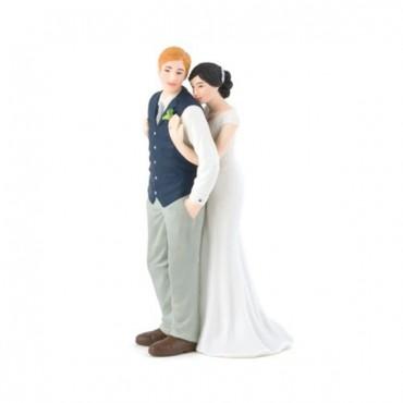 A Sweet Embrace – Bride Embracing Groom Couple Figurine