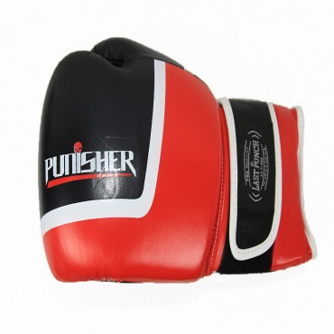 16 oz Last Punch Black and Red Punisher Boxing Gloves