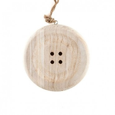 Charming Wooden Button Decoration With Natural Finish - Small - 3 Pieces