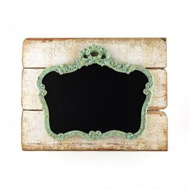 Ornate Vintage Chalkboard Mounted On Faux Wood