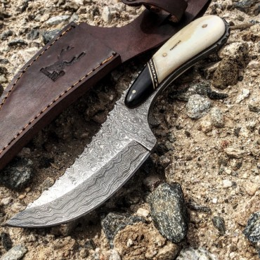TheBoneEdge 8.5 in. Damascus Skinner Hunting Knife Bone Handle Series