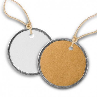 Vintage Round Metal Rim Favor Tags With Jute Ties - 3 Pieces