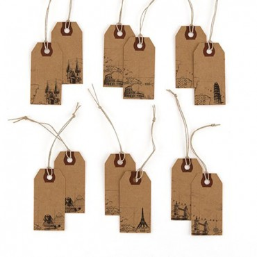 Global Destinations Vintage Paper Shipping Tags With Twine Ties