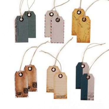 Well Traveled Vintage Paper Shipping Tags With Twine Ties - 4 Pieces