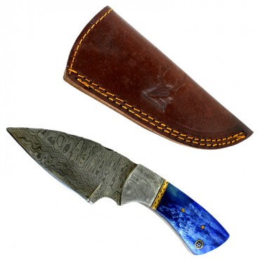 TheBoneEdge 7 in. Damascus Fixed Blade Full Tang Blue Bone Handle Steel Knife