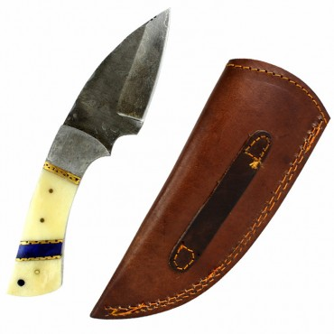 TheBoneEdge 7.5 in. Damascus Steel Knife Fixed Blade FullTang Bone Handle Handmade