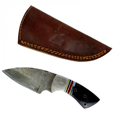TheBoneEdge 7 in. Damascus Steel Knife Fixed Blade FullTang Black Horn Handle
