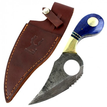 The Bone Edge 7.5 in. Damascus Blade Hunting Tactical Knife Blue Handle Leather Sheath