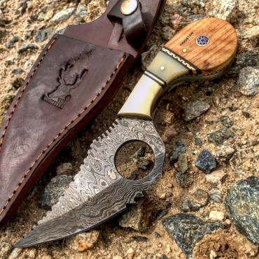 TheBoneEdge 7.25 in. Damascus Steel FullTang Wood & Bone Handle Hunting Knife