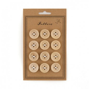 Natural Wood Buttons - 3 Pieces