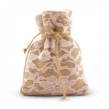 Rustic Chic Burlap And Lace Drawstring Favor Bag 12