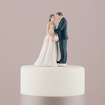 Contemporary Vintage Bride And Groom Porcelain Figurine Wedding Cake Topper