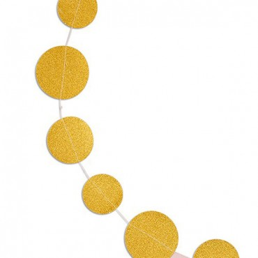 Gold Glitter Circle Sewn Paper Garland - 2 Pieces