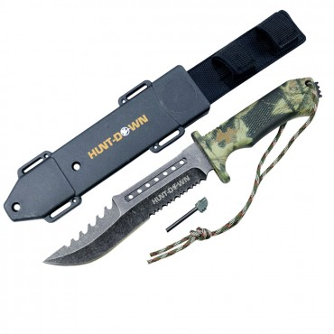 Hunt-Down Forest Camo 12 in. Carbon Steel Hunting Tactical Fixed Blade Sharp Knife