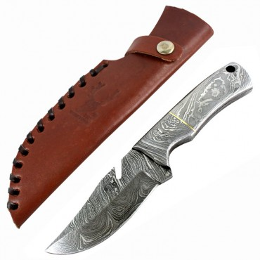 TheBoneEdge 7 in. Silver Fish Hook Damascus Blade Hunting Survival Tactical Knife
