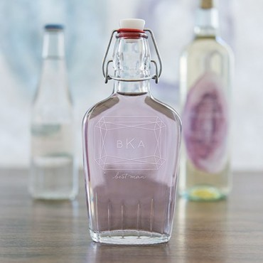 Personalized Clear Glass Hip Flask Monogram Gem Etching