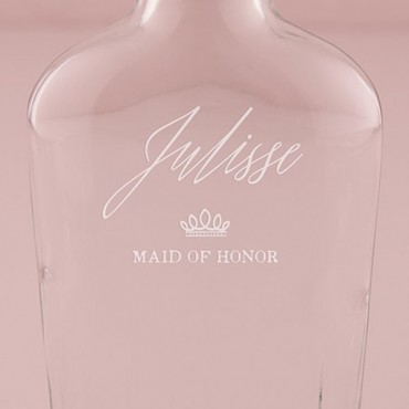 Personalized Clear Glass Hip Flask Crown Etching