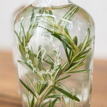 Personalized Clear Glass Hip Flask Botanical Wreath Etching