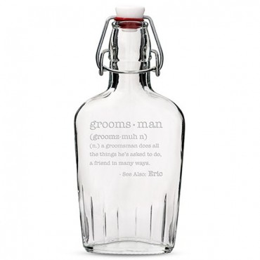 Personalized Glass Hip Flask Best Man Or Groomsman Etched