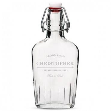 Personalized Clear Glass Flask For Groomsmen