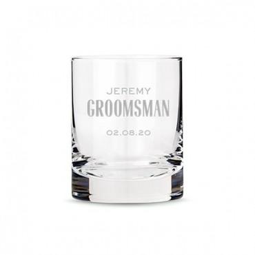 Personalized Whiskey Glass - Modern Groomsman