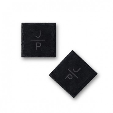 Set Of Square Slate Coasters - Stacked Monogram Etching