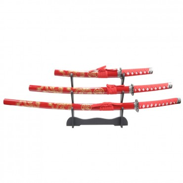 3 Piece Red Dragon Samurai Sword Set Carbon Steel Blades with Stand Good Quality