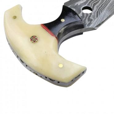 TheBoneEdge 5 in. white Damascus Custom Handmade Hunting Knives with Sheath