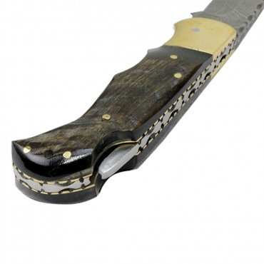 TheBoneEdge 6.5 in. Damascus Folding Knife Lamb Horn Handle Handmade with Sheath