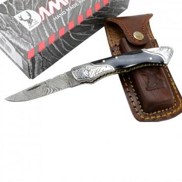 TheBoneEdge 7 in. Damascus Folding Knife Horn Handle Bolster Handmade with Sheath