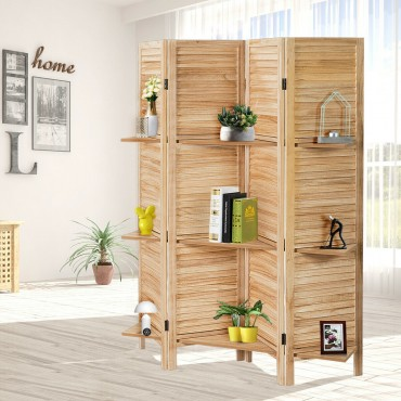 4 Panel Folding Room Divider Screen With 3 Display Shelves