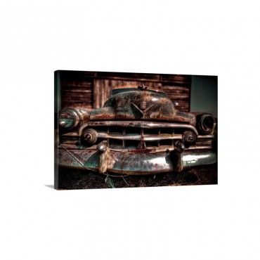 A 1950's American Cadilac Car With Rust And Chrome Bumper Wall Art - Canvas - Gallery Wrap