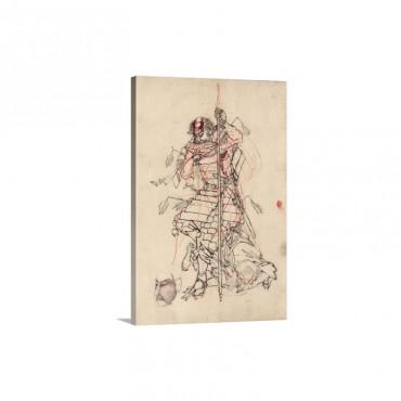 A Samurai Drinking Sake Wall Art - Canvas - Gallery Wrap