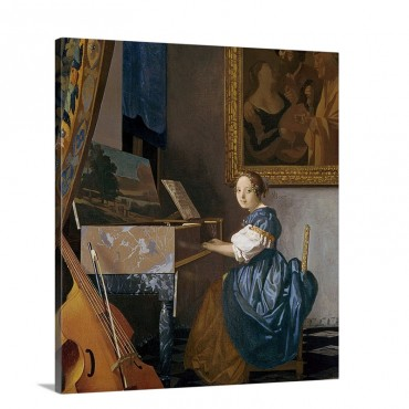 A Young Lady Seated At A Virginal C 1670 Wall Art - Canvas - Gallery Wrap
