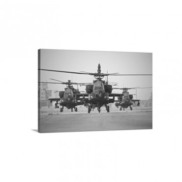 A Group Of AH 64D Apache Helicopters On The Runway At COB Speicher Wall Art - Canvas - Gallery Wrap
