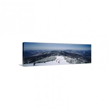 Aerial View Of A Group Of People Skiing Downhill Sugarbush Resort Vermont Wall Art - Canvas - Gallery Wrap