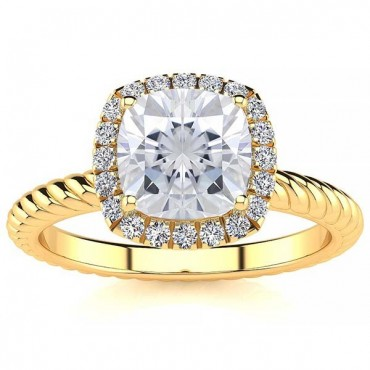 Alyssa Moissanite Ring - Yellow Gold