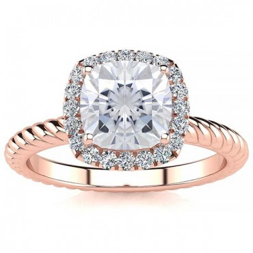 Alyssa Moissanite Ring - Rose Gold
