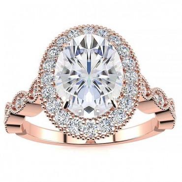 Amalia Moissanite Ring - Rose Gold