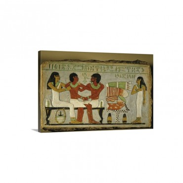 Amenemhet Embraced By Father Inyotef And Mother Iy Wall Art - Canvas - Gallery Wrap