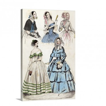 American Color Fashion Plate From Godey's Lady's Book 1842 Wall Art - Canvas - Gallery Wrap