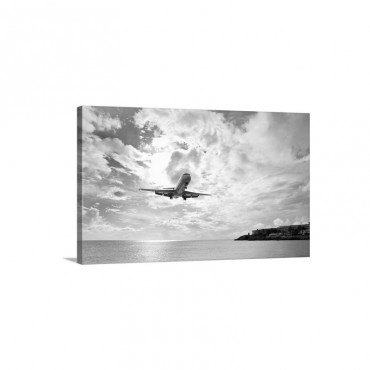 An Airliner Comes In For A Landing In St Maarten Netherlands Antilles Wall Art - Canvas - Gallery Wrap