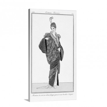 An Evening Silk Coat With Silver Threads Fashion Plate From Costume Parisien 1814 Wall Art - Canvas - Gallery Wrap
