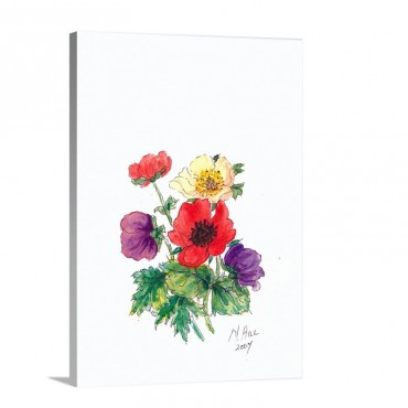 Anemones 2007 Wall Art - Canvas - Gallery Wrap