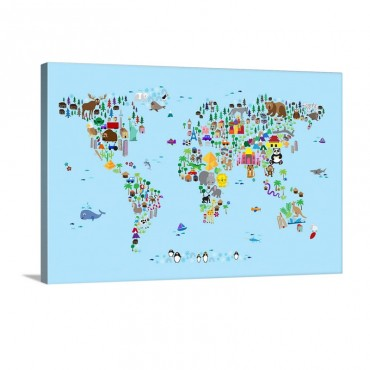Animal Map Of The World For Children Light Blue Wall Art - Canvas - Gallery Wrap