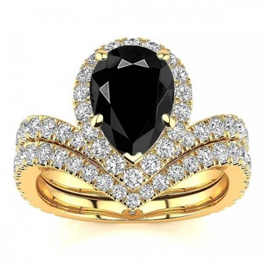Anna Black Diamond Ring - Yellow Gold