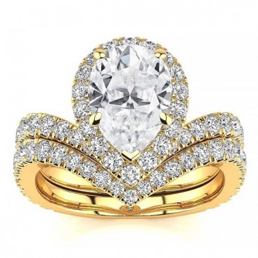 Anna Moissanite Ring - Yellow Gold