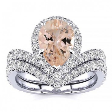 Anna Morganite Ring - White Gold