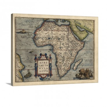 Antique Map Of Africa 1570 Wall Art - Canvas - Gallery Wrap