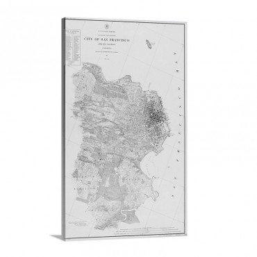 Antique Map Of San Francisco 1857 Wall Art - Canvas - Gallery Wrap